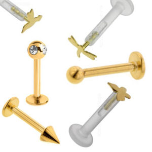 Gold Plated Labret Studs